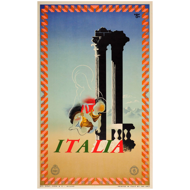 Original Vintage ENIT Italian Railways Travel Poster By Cassandre - Italia Italy