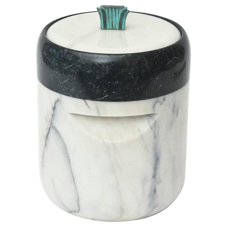 Mid-Century Georges Briard Marble and Bronze Ice Bucket/  FINALE SALE