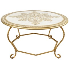 Italian Florentine Hollywood Regency Gold Wood & Iron Rope Round Coffee Table