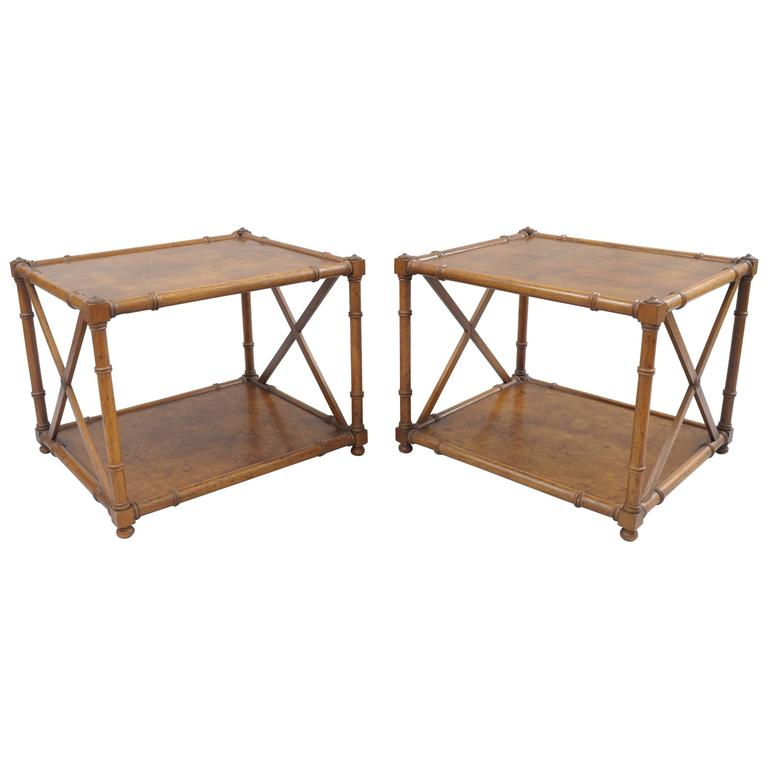 Awesome Pair Of Burl Wood Faux Bamboo Low End Tables Drexel Heritage Grand Tour For  Sale