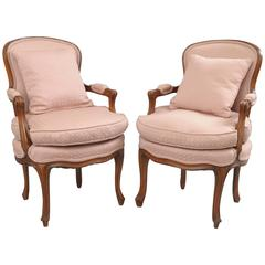 Pair of Country French Louis XV Style Armchairs Pink Carved Walnut Fauteuils