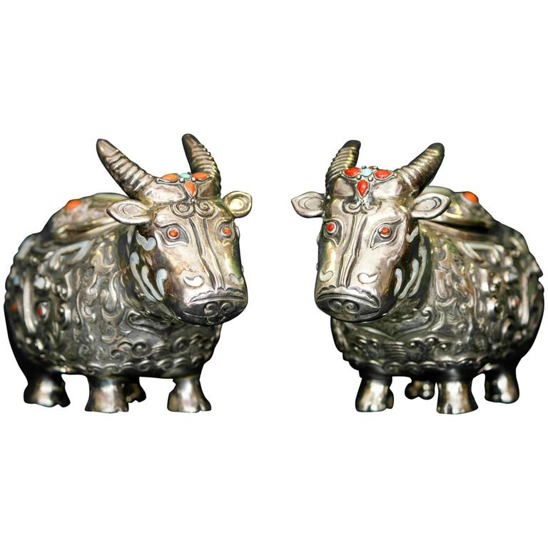 19th Century Chinese Silver Oxen Boxes