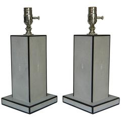 Pair of Grey Shagreen Lamps