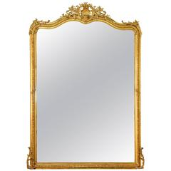 Large Louis XV Style Giltwood Wall Mirror, 19th Century