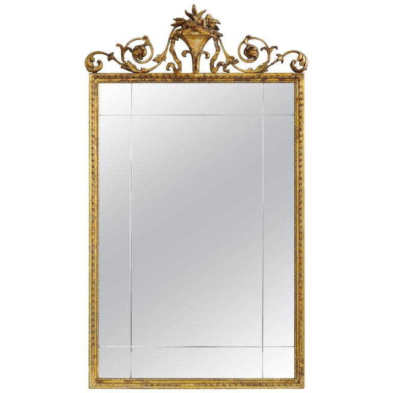 Carved Gold Giltwood and Gesso English Robert Adam Style Wall Mirror Rectangular For Sale