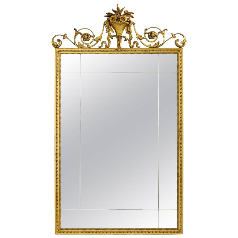 Carved gold giltwood and gesso english robert adam style for Adam style mirror