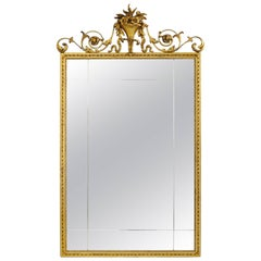 Antique Gold Giltwood & Gesso English Robert Adam Style Rectangular Wall Mirror