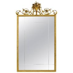 Carved Gold Giltwood and Gesso English Robert Adam Style Wall Mirror Rectangular