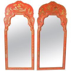 Matched Pair of Red Chinoiserie Decorated Mirrors