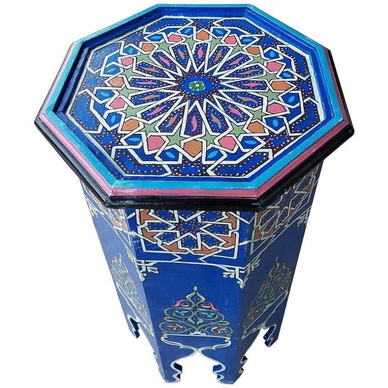 Superbe Blue Octagonal Hand Painted Table, Marrakech