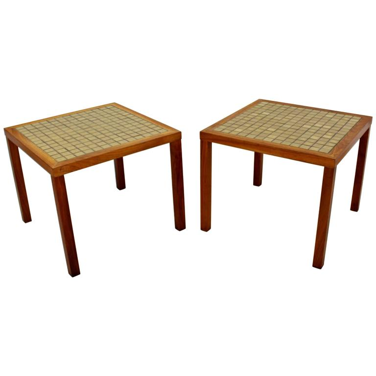 Mid-Century Modern Pair of Martz Green Tile-Top and Walnut Side End Tables