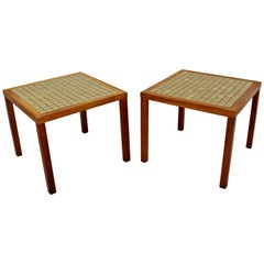 Mid-Century Modern Pair of Martz Green Tile-Top and Walnut Side End Tables 1960s