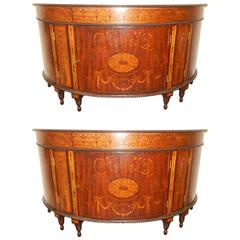 Pair of Large Adams Style Inlaid Demilune Cabinets
