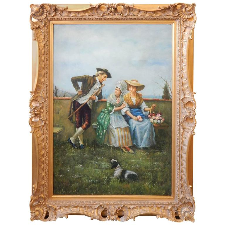 20th Century Painting of a Courting Scene