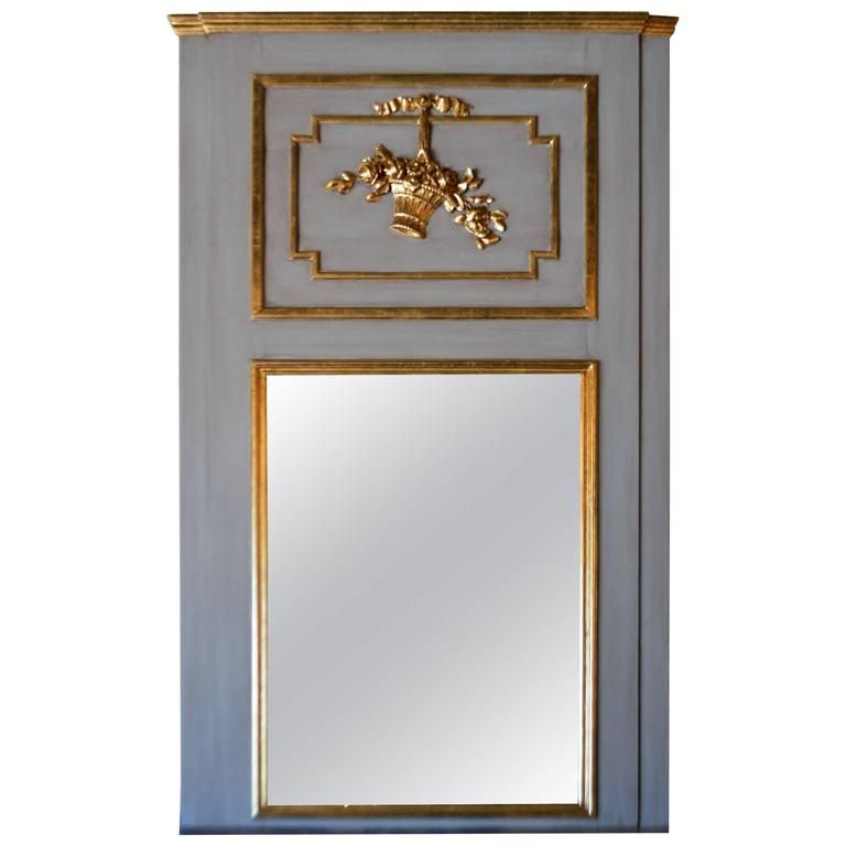 Louis xvi style large painted with gilt accent trumeau for Large accent mirrors