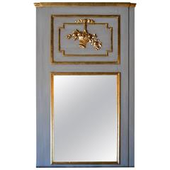 Louis XVI Style Large Painted with Gilt Accent Trumeau Mirror
