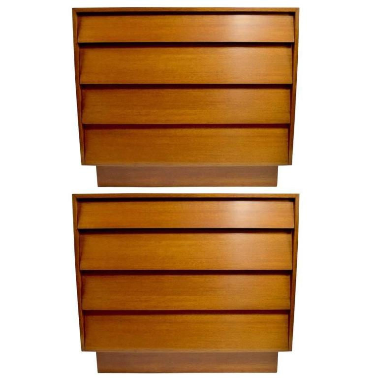Pair of Bachelors Chests with Louvered Drawers after Florence Knoll
