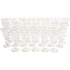 """Set of 34 Baccarat Vintage """"Vienne Gold Trim"""" Crystal Stemware"""