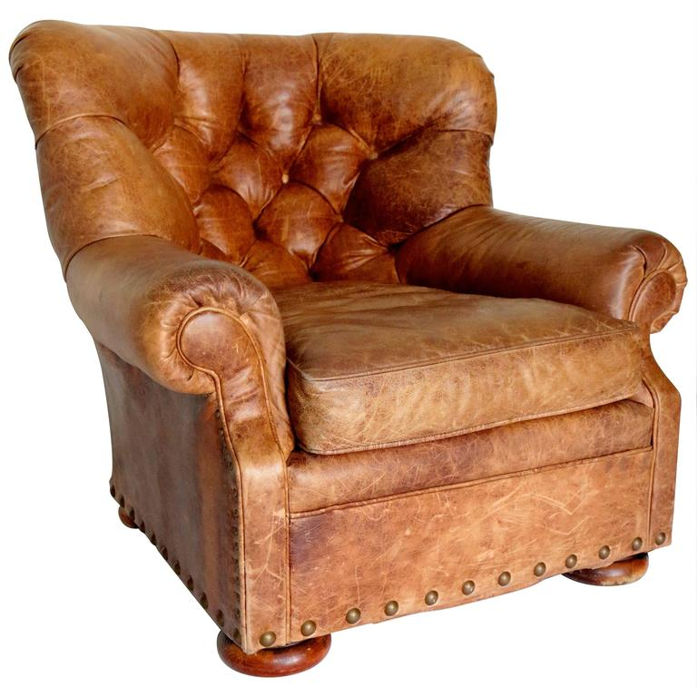 Gentil Ralph Lauren Distressed Writers Leather Club Chair For Sale