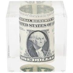 Vintage Dollar Bill Lucite Sculpture / Paperweight