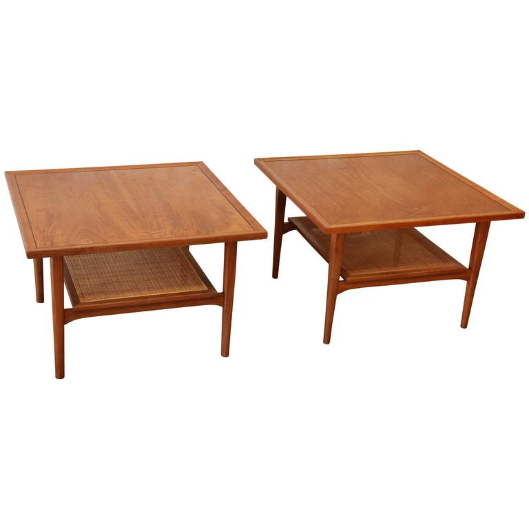 Kipp Stewart For Drexel Declaration Mid Century Walnut Side Tables, Pair,  1958 For