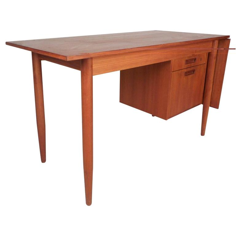 Mid Century Modern Arne Vodder Style Slide Top Danish Teak Desk For