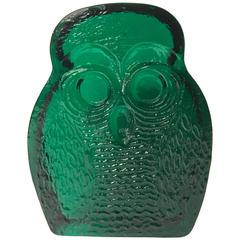 Whimsical Emerald Green Glass Owl Bookend or Paperweight by Blenko