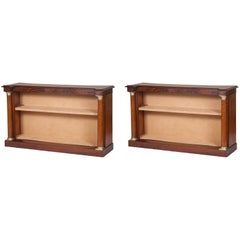 Pair of Handsome Large Late Regency English Bookcases with Empire Influences