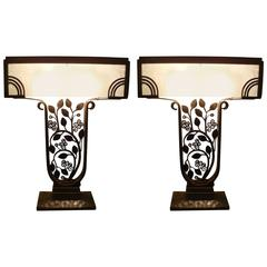 Pair of Edgar Brandt Wrought-Iron Art Deco Table Lamps, circa 1925, France