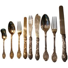 Rococo Odiot Meissonnier Sterling Silver Cutlery Flatware for 12, France