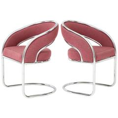 Pair of 1970s Chrome Cantilever Armchairs