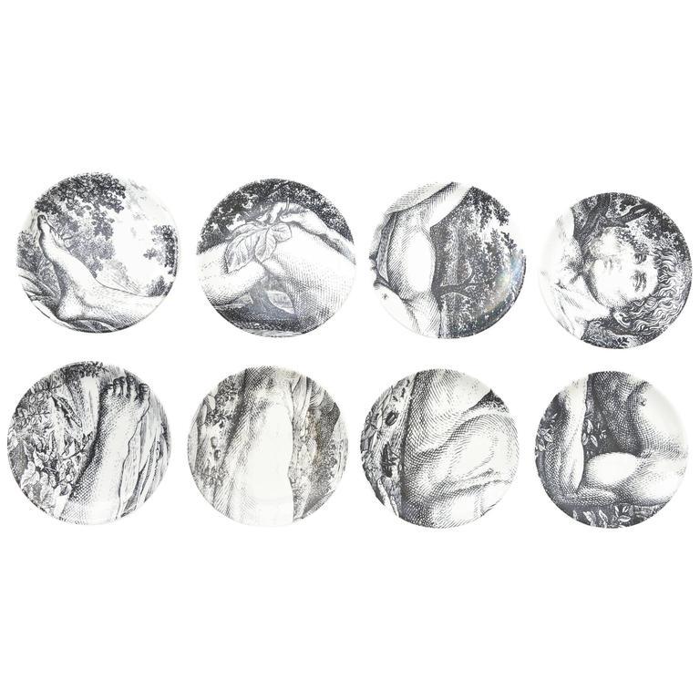 "Eight Mid-Century Piero Fornasetti Porcelain Coasters ""Adam""/ Barware"