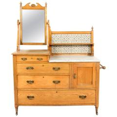Antique English Victorian Ash Dresser with Mirror, 19th Century
