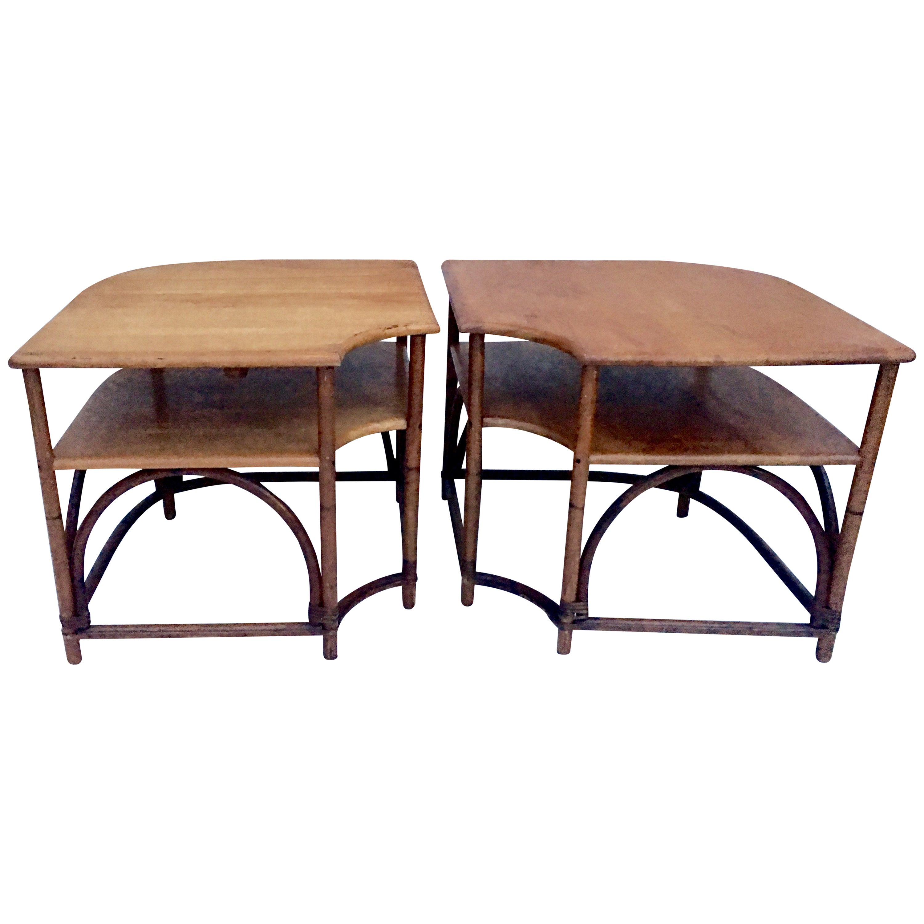 Mid-20th Century Pair Of Teak & Rattan Two-Tier Side Tables