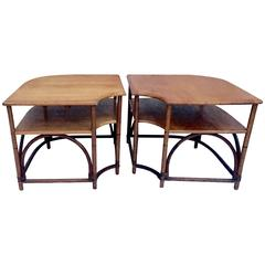 Mid-Century Pair Of Teak & Rattan Two-Tier Side Tables