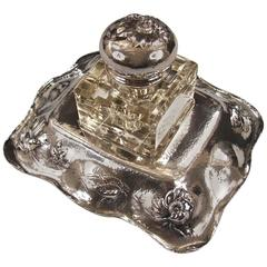 American Art Nouveau Sterling Silver Inkstand by Barbour Silver Company