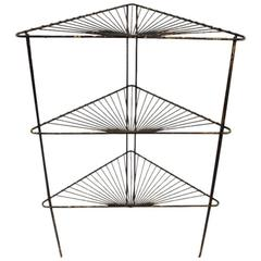 Three-Tier Triangular Wrought Iron Stand