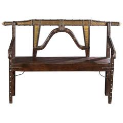 Spanish Colonial Wood and Metal Bench