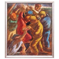 WPA Style 1930s Oil Painting of Striking Workers by a. Martinelli