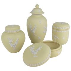 Vintage Wedgwood Covered Vessel Collection in White on Primrose Yellow Jasper