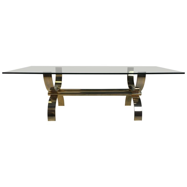 Italian Brass Curule Form Coffee Table