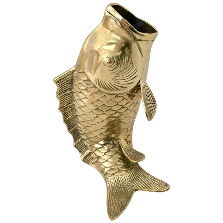 Mid Century Large Solid Brass Koi Fish Vase Sculpture At