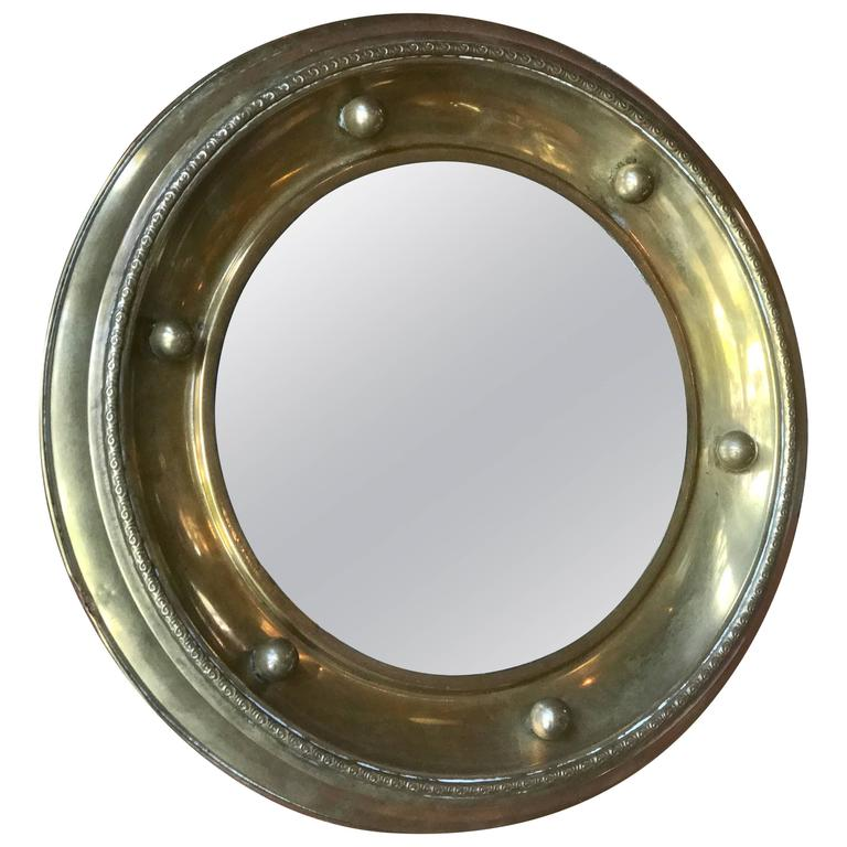 Italian Round Mirror in Brass, 1920 For Sale