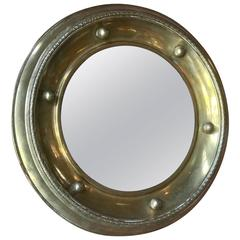 Italian Round Mirror in Brass, 1920