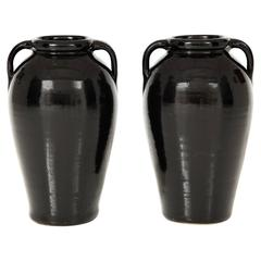 Pair of Tall Black Glazed Stone Ware Vases or Jars with Handles