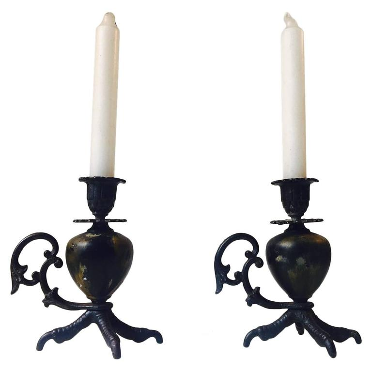 Pair of Antique Talon, Rooster Claw Chamber Candlesticks, Early 20th Century