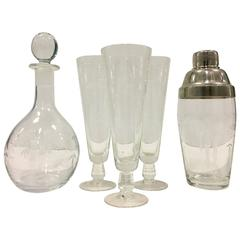 "1930'S Japan Etched Crystal ""Bamboo"" Motif Drinks Set Of Six Pieces"