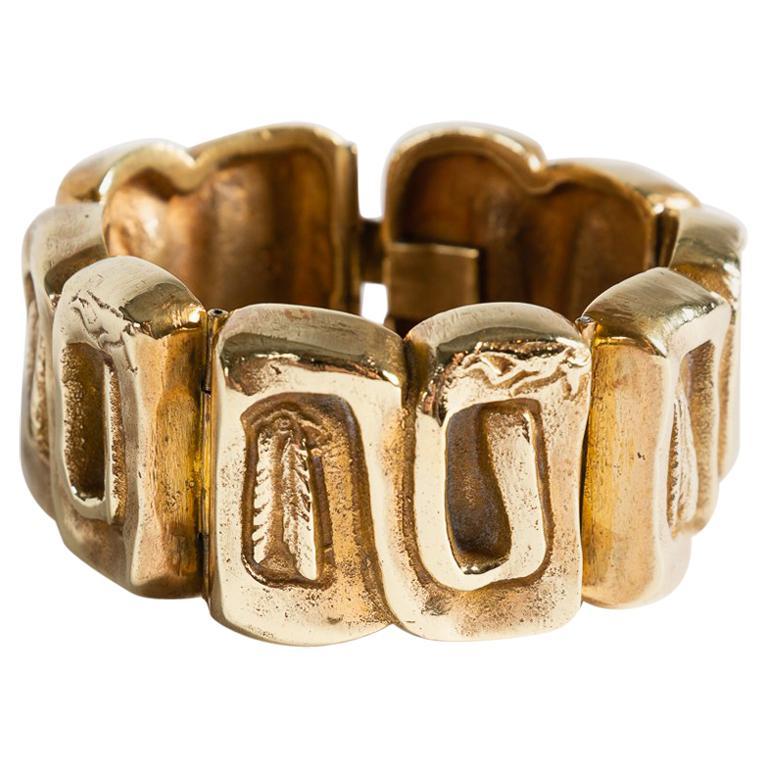 "Line Vautrin, ""Icare,"" Bronze Doré Bracelet, France, circa 1945-1950 For Sale"
