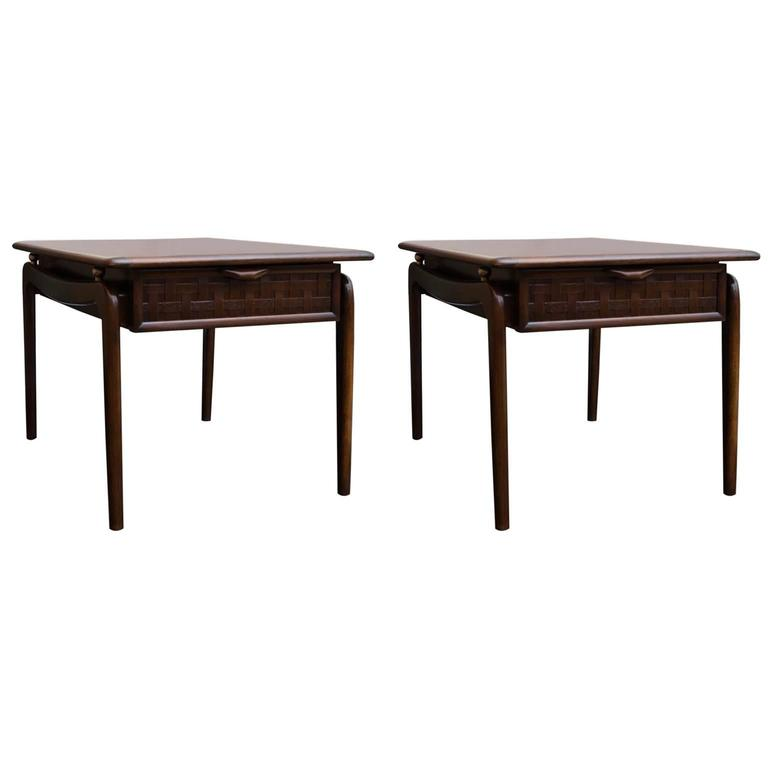 Pair of Lane Perception End Tables in Walnut