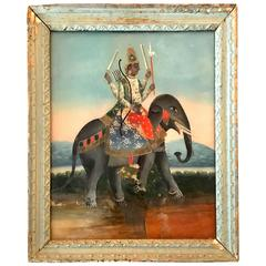 Rare Églomisé Portrait of a Sultan on Elephant, 19th Century